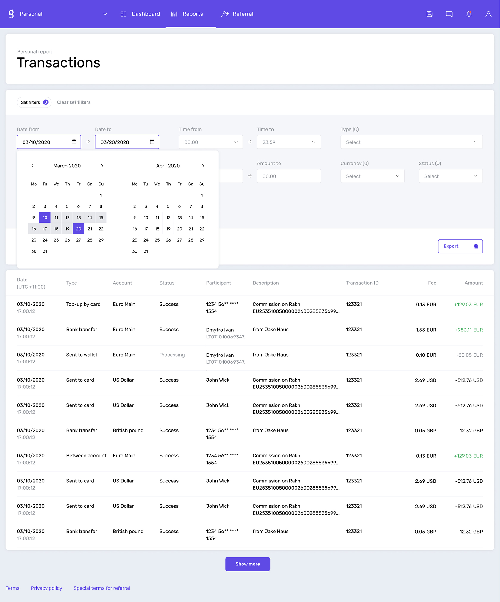 Transaction reports in Genome