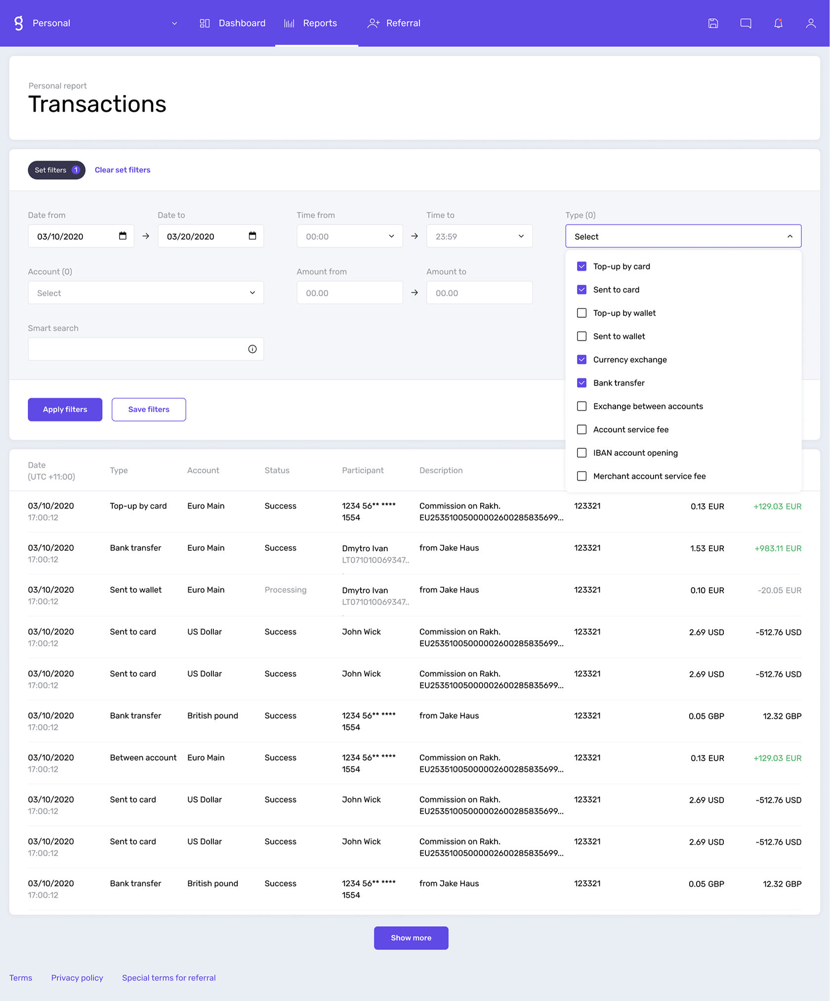 Set up filters for your transaction reports within Genome