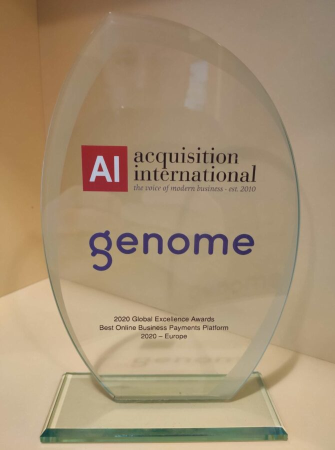 """Genome's """"Best Online Business Payments Platform 2020"""" award from Acquisition International magazine"""