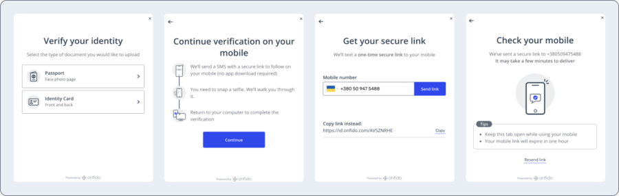 The Onfido verification process within Genome