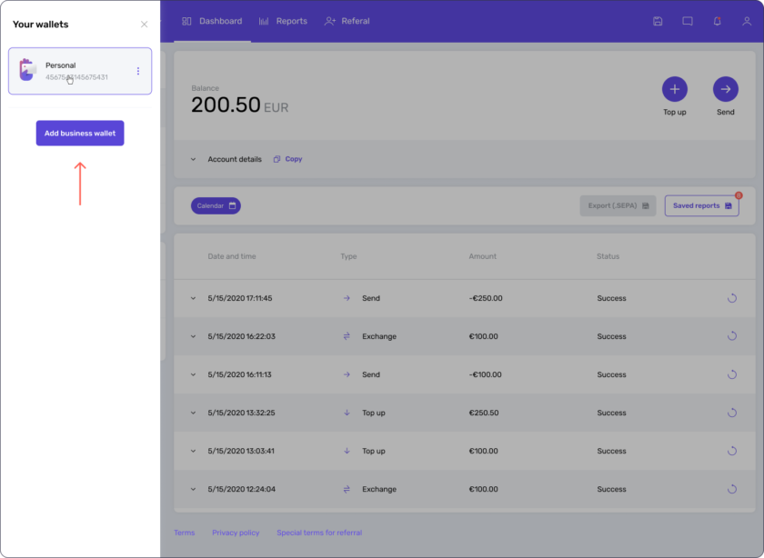 How to add a business wallet from Genome's dashboard