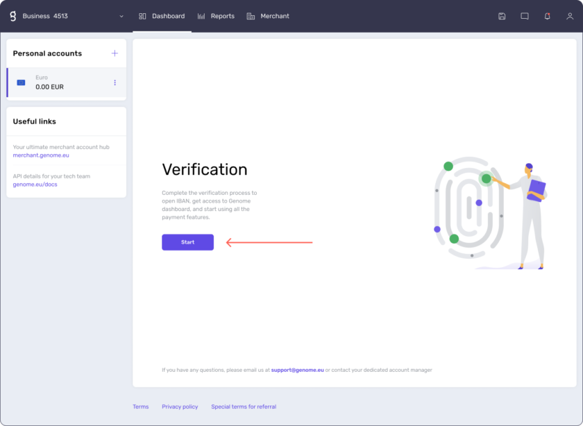 Start a verification process to open a business wallet at genome