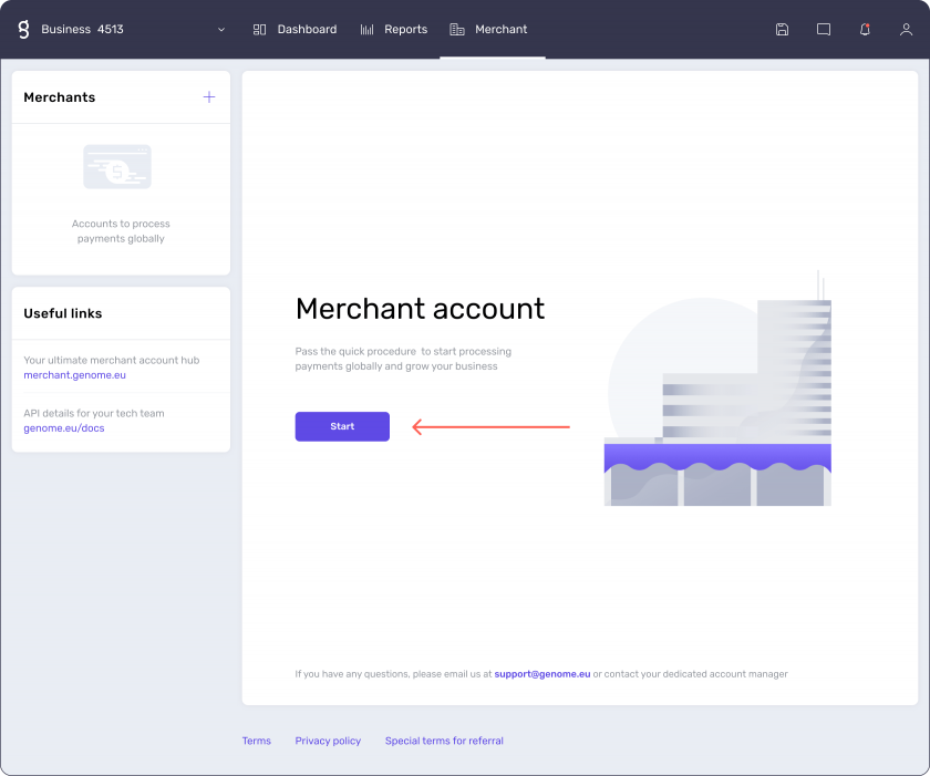 How to start applying for a merchant account at Genome