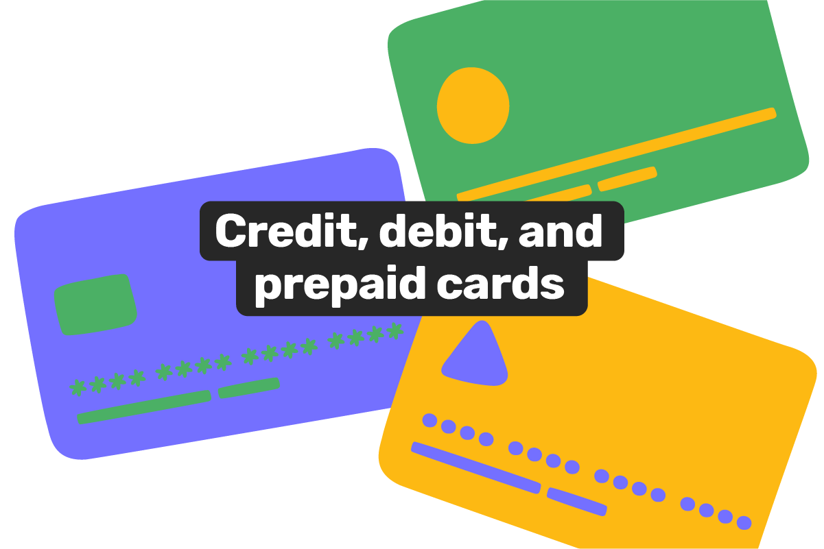 What is the difference between a prepaid card, a credit card, and a debit card?